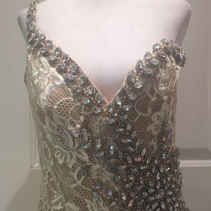 Terrain Couture Champagne Metallic Lace Dress
